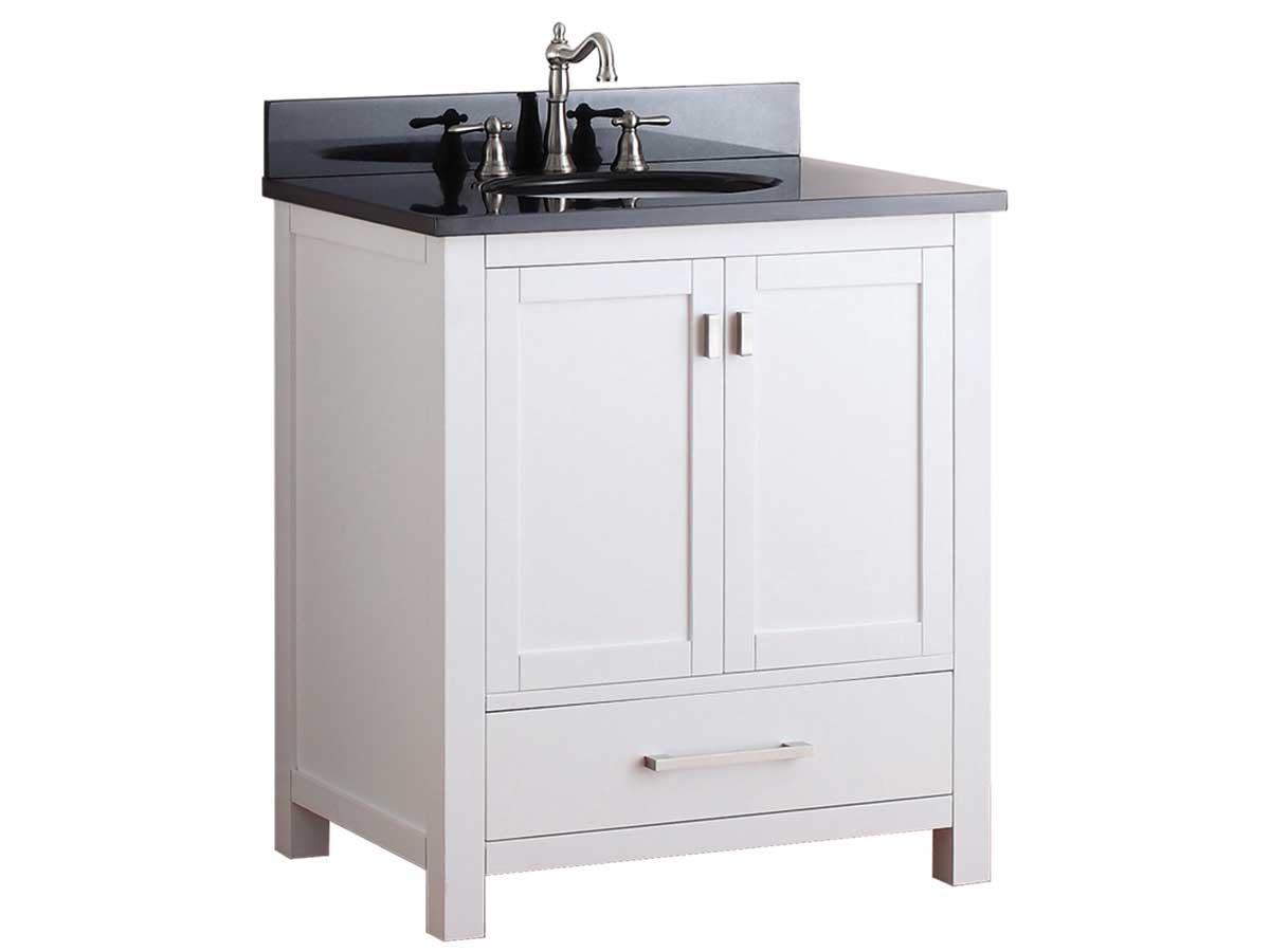 "31"" Toscana Single Bath Vanity - White with Black Granite Top"