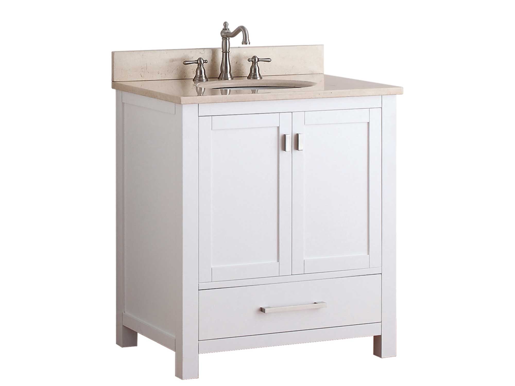 "31"" Toscana Single Bath Vanity - White with Galala Beige Marble Top"