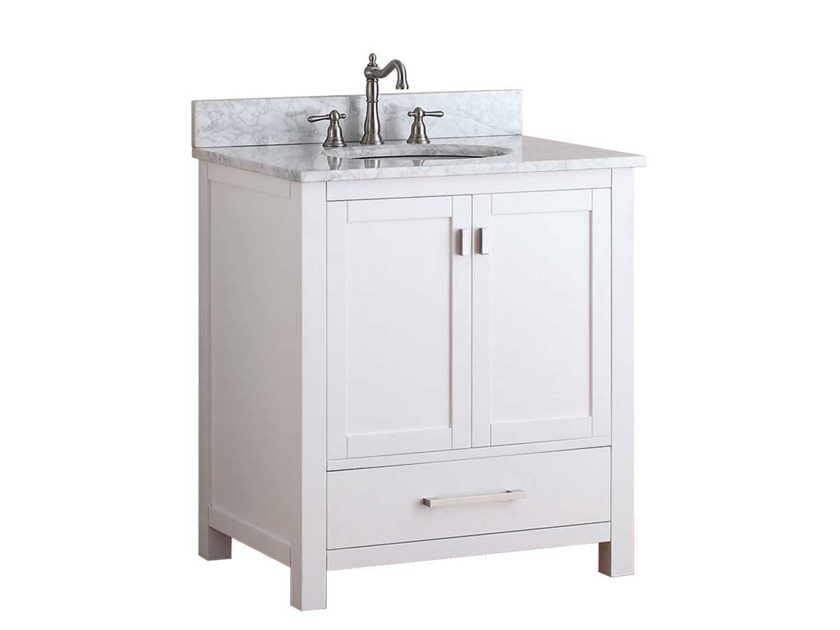 "31"" Toscana Single Bath Vanity - White with Carrera White Marble"