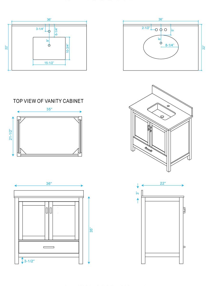 "36"" Sheffield Single Bath Vanity - Dimensions"