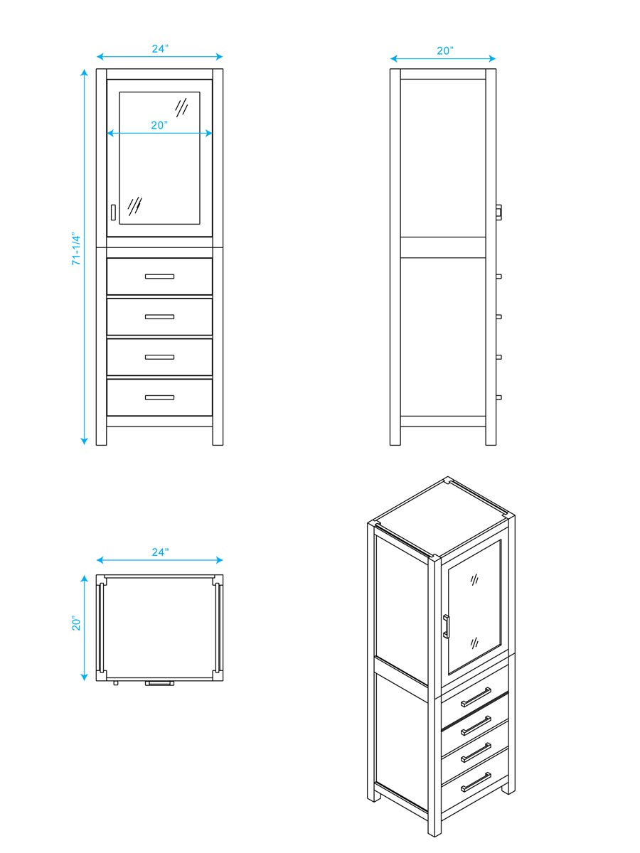 Optional Linen Cabinet - Dimensions