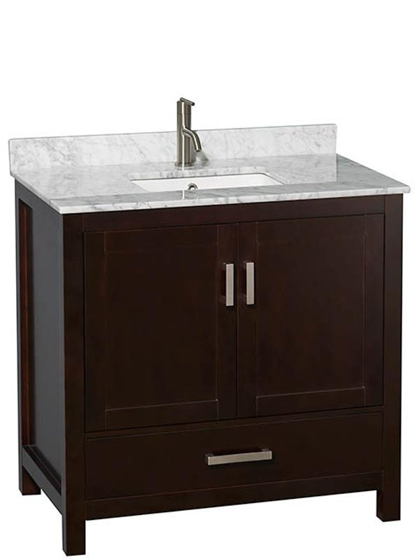 Shown with Carrera Marble Top and Square Sink