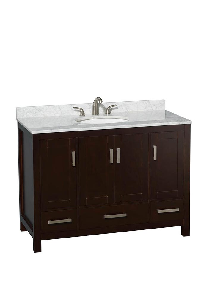 Shown with Carrera Marble Top and Round Sink