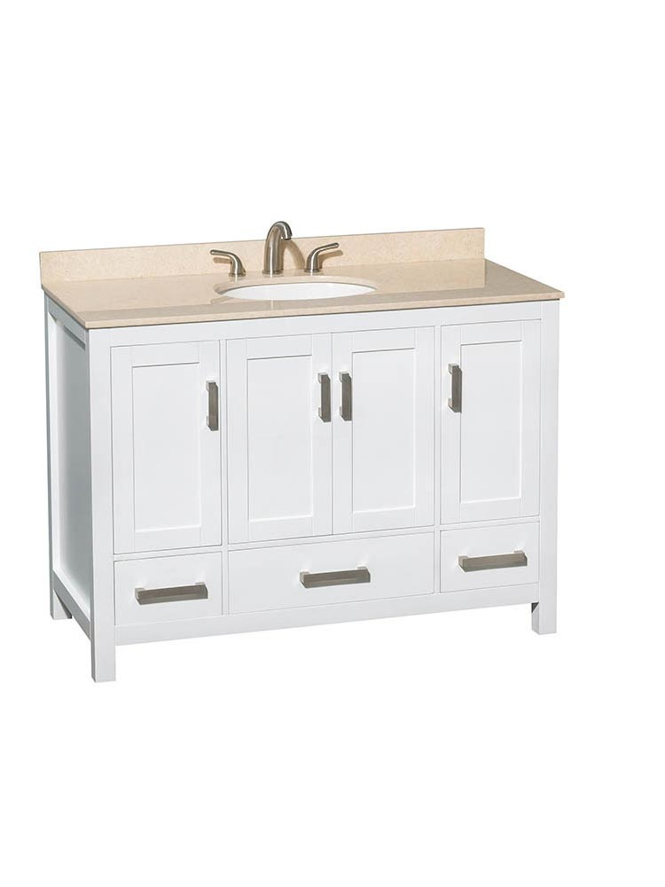 Shown with Ivory Marble Top and Round Sink