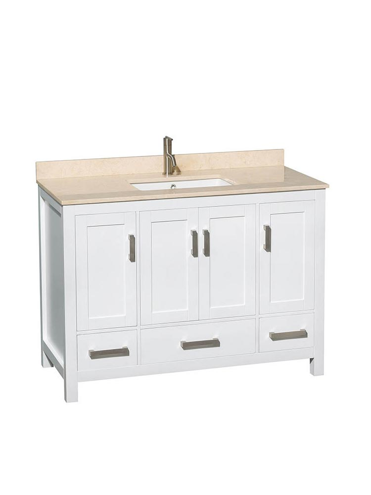 Shown with Ivory Marble Top and Square Sink