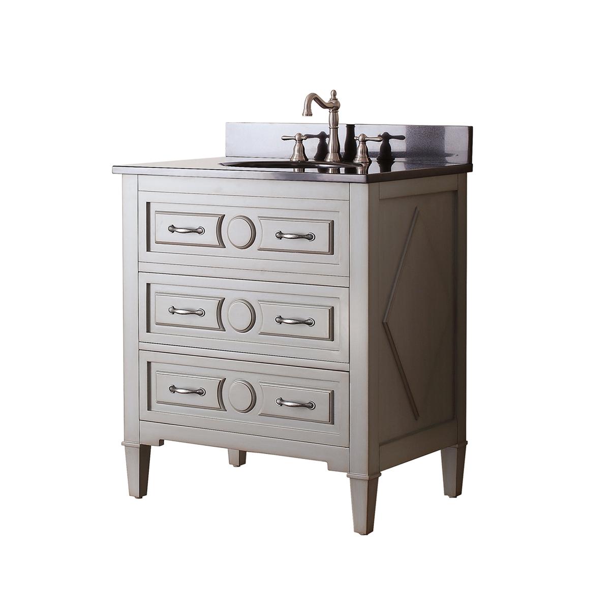 "31"" Worotan Single Bath Vanity - Black Granite Top"