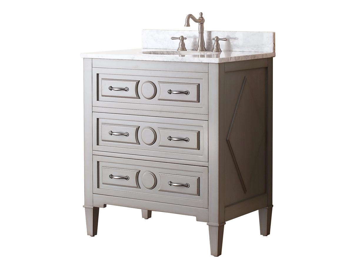 "31"" Worotan Single Bath Vanity - Carrerea White Marble"