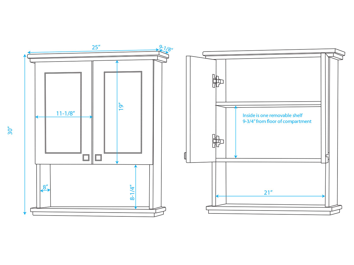 Acclaim Wall Cabinet - DImensions