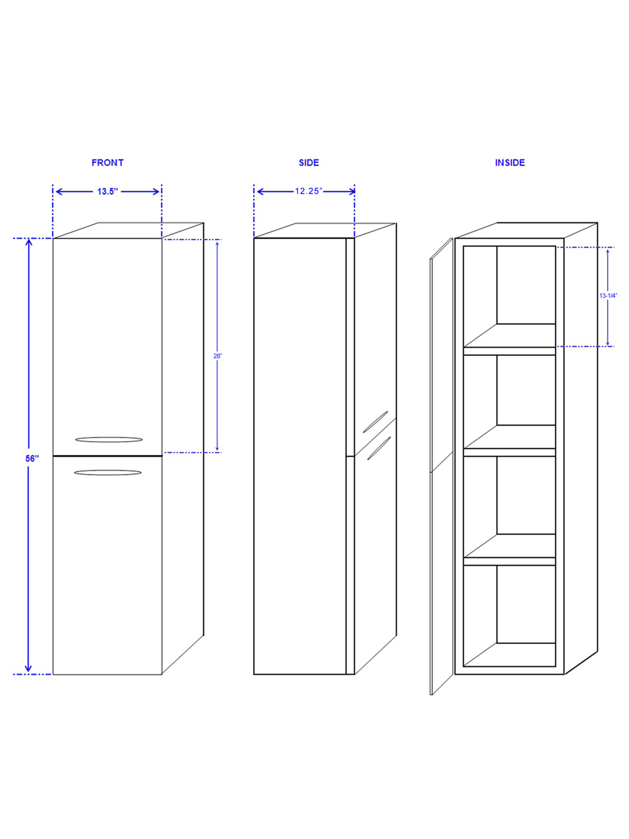 Optional Accara Wall Cabinet - Dimensions