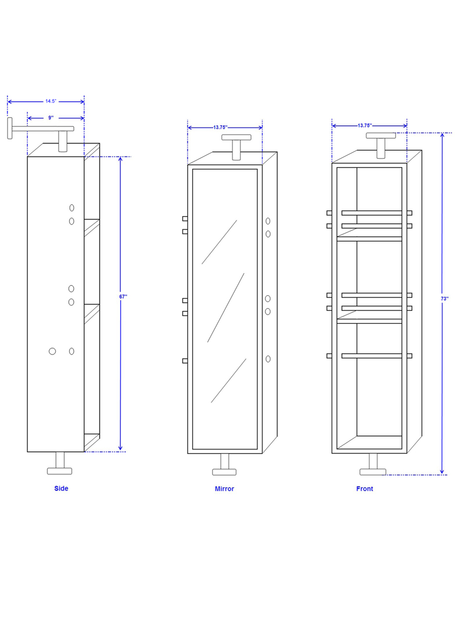 Optional Claire Rotating Cabinet - Dimensions