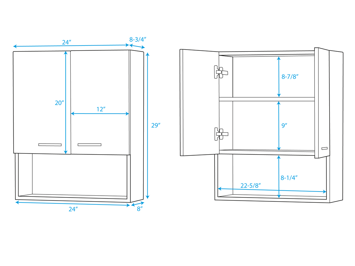Optional Maria Wall Cabinet - Dimensions