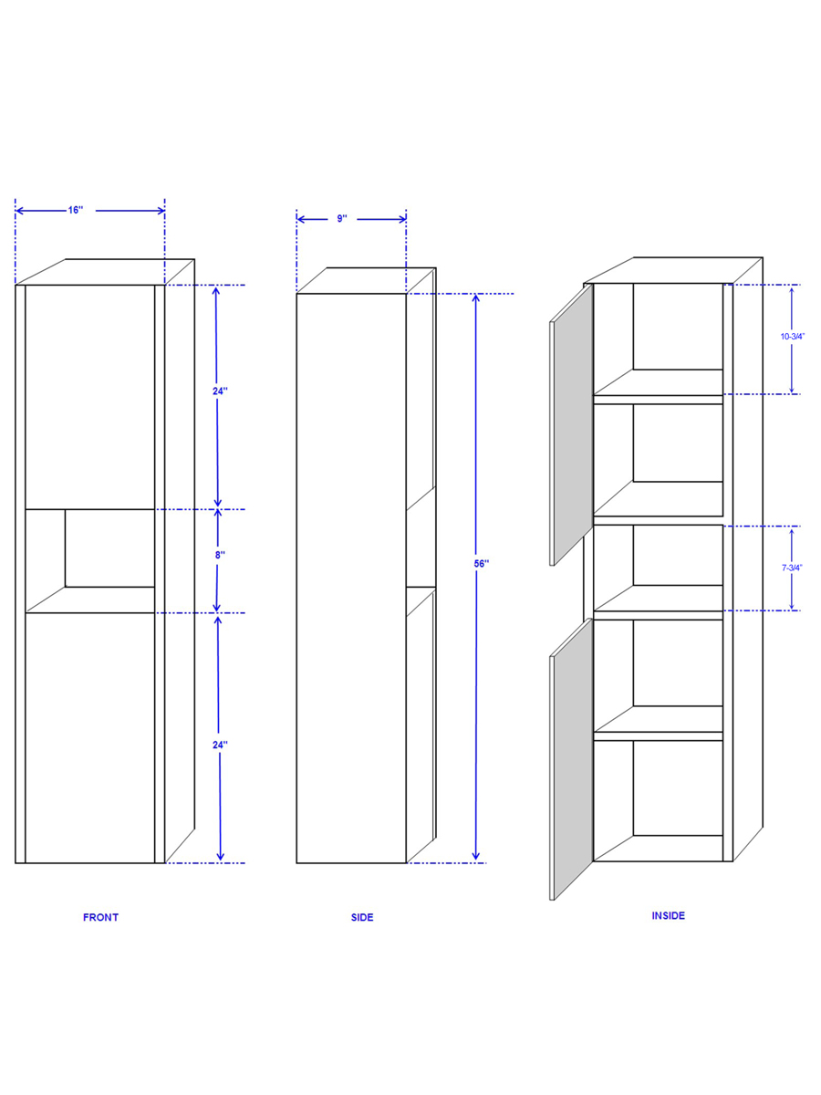 Optional Sarah Wall Cabinet - Dimensions