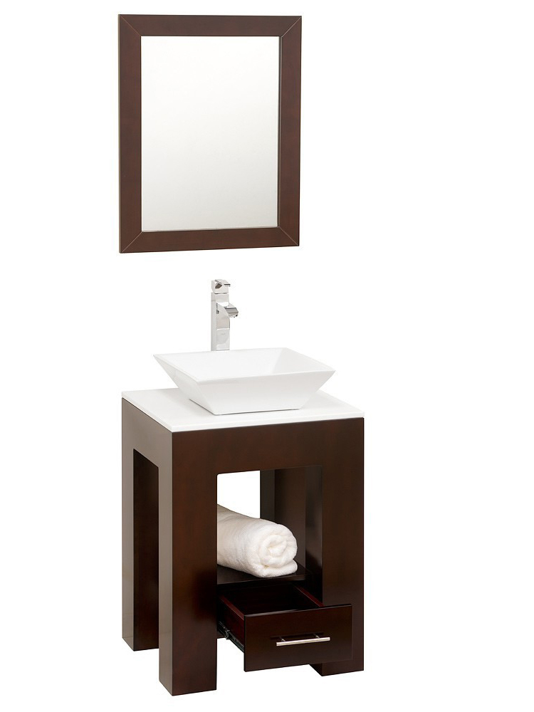Shown with White Glass top and White Porcelain vessel sink