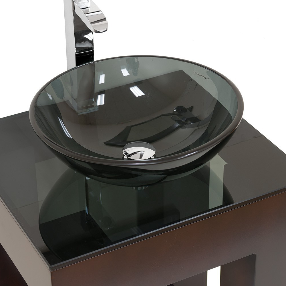 Shown with Smoked Glass top and Smoked Glass vessel sink