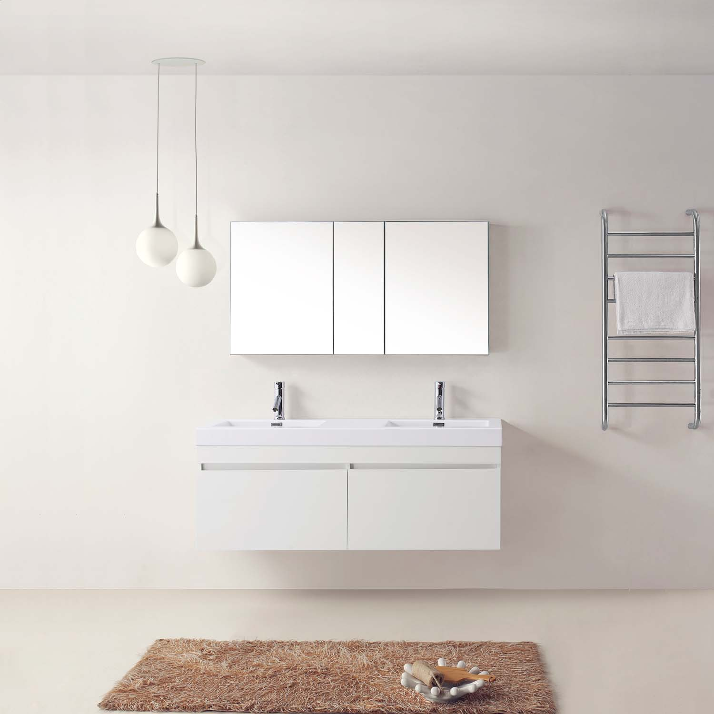 55 Quot Zuri Double Sink Vanity White Bathgems Com