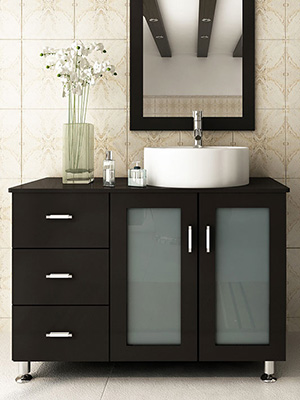 "Bathroom Vanity 30 X 16 39"" lune single bathroom vanity - espresso - bathgems"
