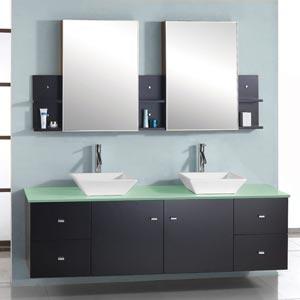 61 Clarissa Double Sink Vanity Glass Top Bathgems Com