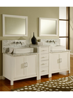 37 vessel sink vanity top granite double white 60