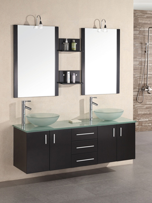 floating double sink vanity. 61  Portland Double Vessel Sink Vanity Glass Top Bathgems com