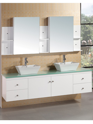 72 portland double vessel sink vanity white for Bathroom vanity portland oregon