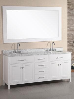 white double sink vanity. 72  London Double Sink Vanity Style 2 White Bathgems com