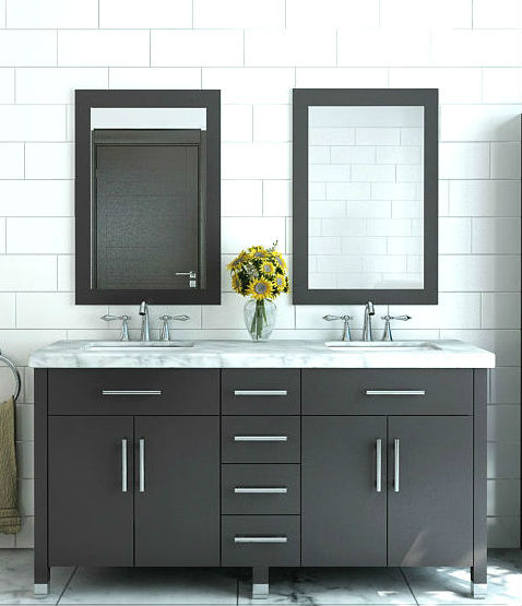 59 Rana Double Sink Vanity With Carrera Marble Top