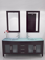 63  Grand Regent Double Sink Vanity   Espresso Glass Top61 66 Inch Bathroom Vanities   Bathgems com. 66 Double Sink Vanity. Home Design Ideas