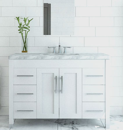 47 Grand Crater 5cm Carrara Marble Undermount Vanity White