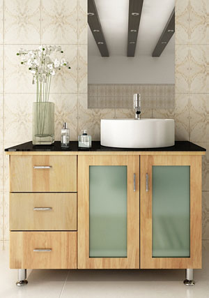 39 naked la lune single vanity with black glass top