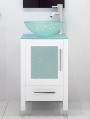 1775 soft focus single vessel sink vanity glass white - Bathroom Cabinets Sink